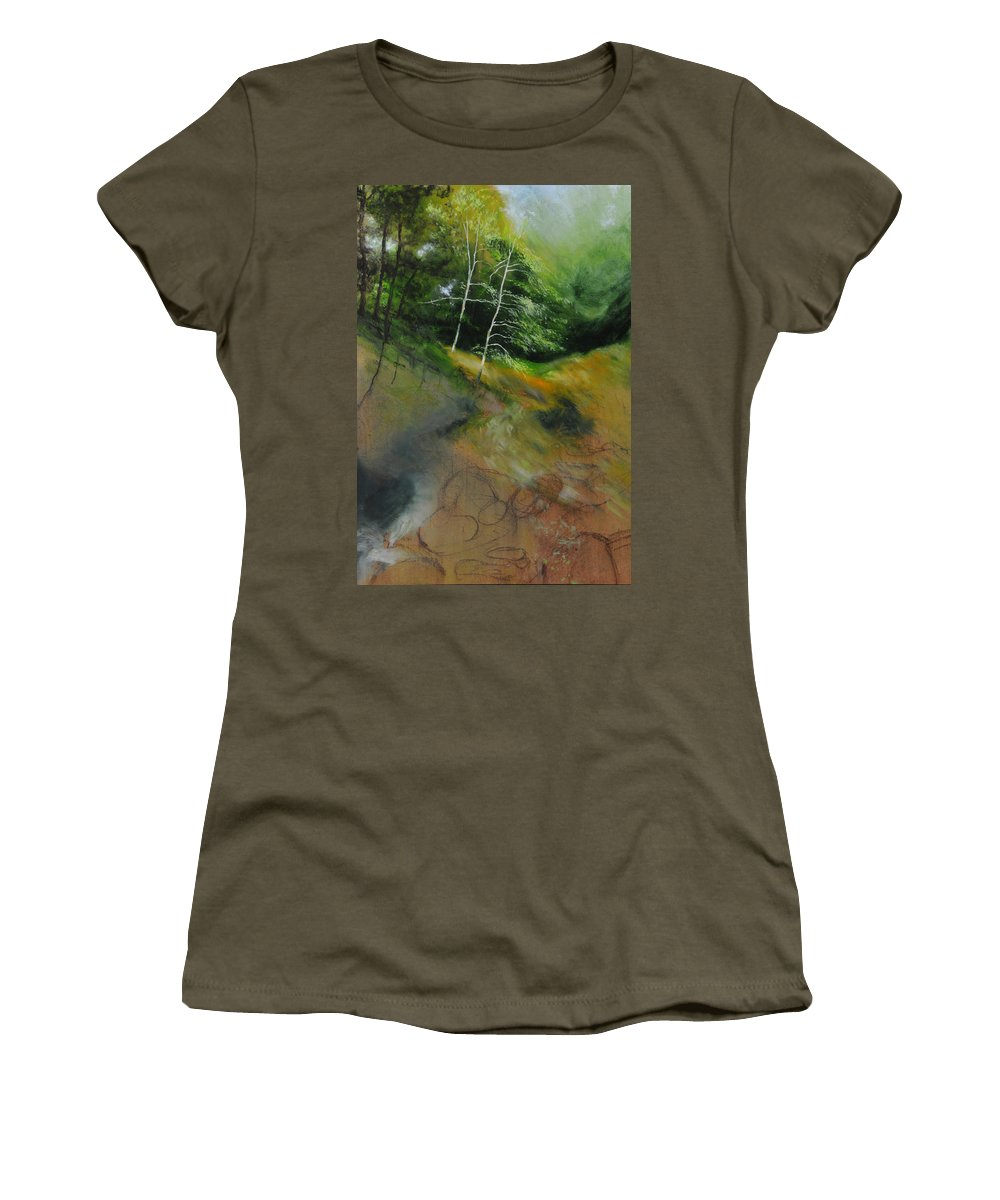 Landscape Women's T-Shirt featuring the painting Two Trees In Light by Harry Robertson