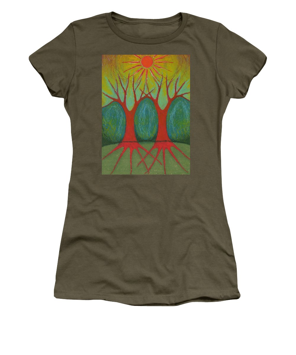 Colour Women's T-Shirt (Athletic Fit) featuring the pastel Two Worlds by Wojtek Kowalski
