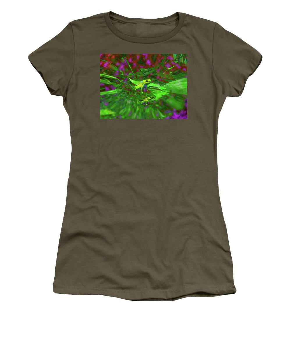 Frogs Women's T-Shirt featuring the digital art Two Yellow Frogs by Donna Brown