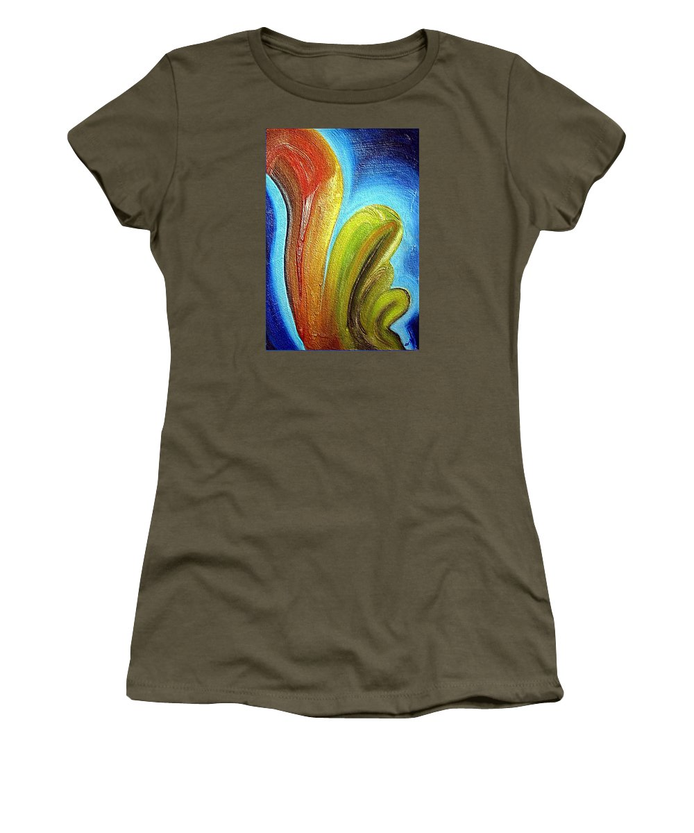 Mixed Media Women's T-Shirt (Athletic Fit) featuring the mixed media Tzunami by Dragica Micki Fortuna