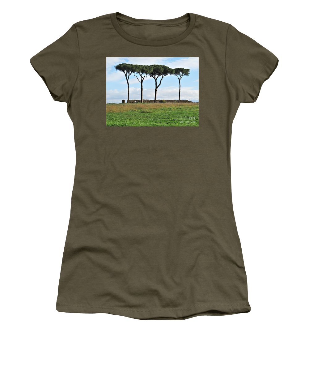 Rome Women's T-Shirt featuring the photograph Umbrella Pines by Laurie Morgan