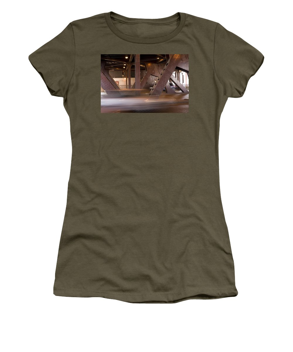 Chicago Windy City Bridge Steel Metal Car Fast Street Road Metro Urban Women's T-Shirt (Athletic Fit) featuring the photograph Under A Bridge by Andrei Shliakhau