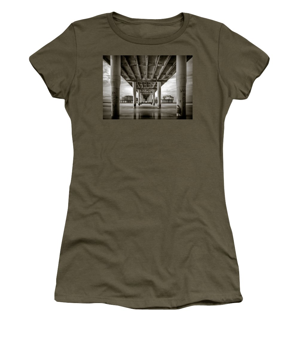 Pier Women's T-Shirt featuring the photograph Under The Boardwalk by Dave Bowman
