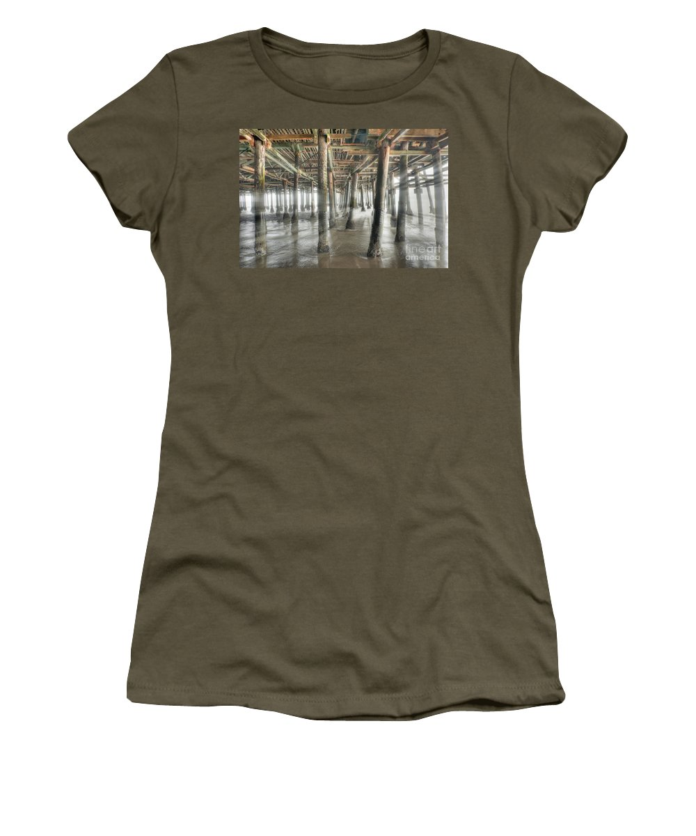 Under The Boardwalk Women's T-Shirt (Athletic Fit) featuring the photograph Under The Boardwalk Into The Light by David Zanzinger