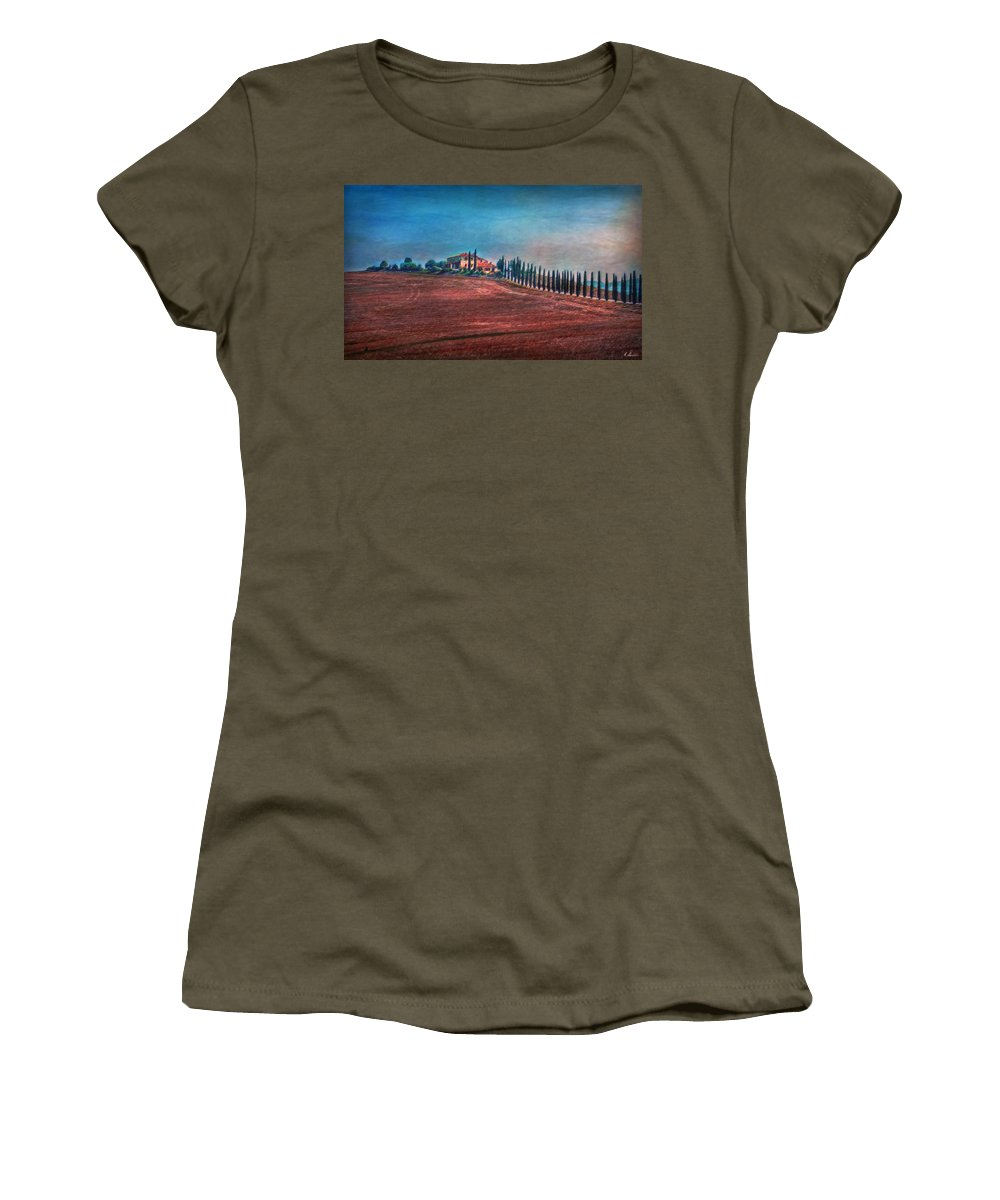 Tuscany Women's T-Shirt (Athletic Fit) featuring the photograph Under Tuscan Sun by Hanny Heim