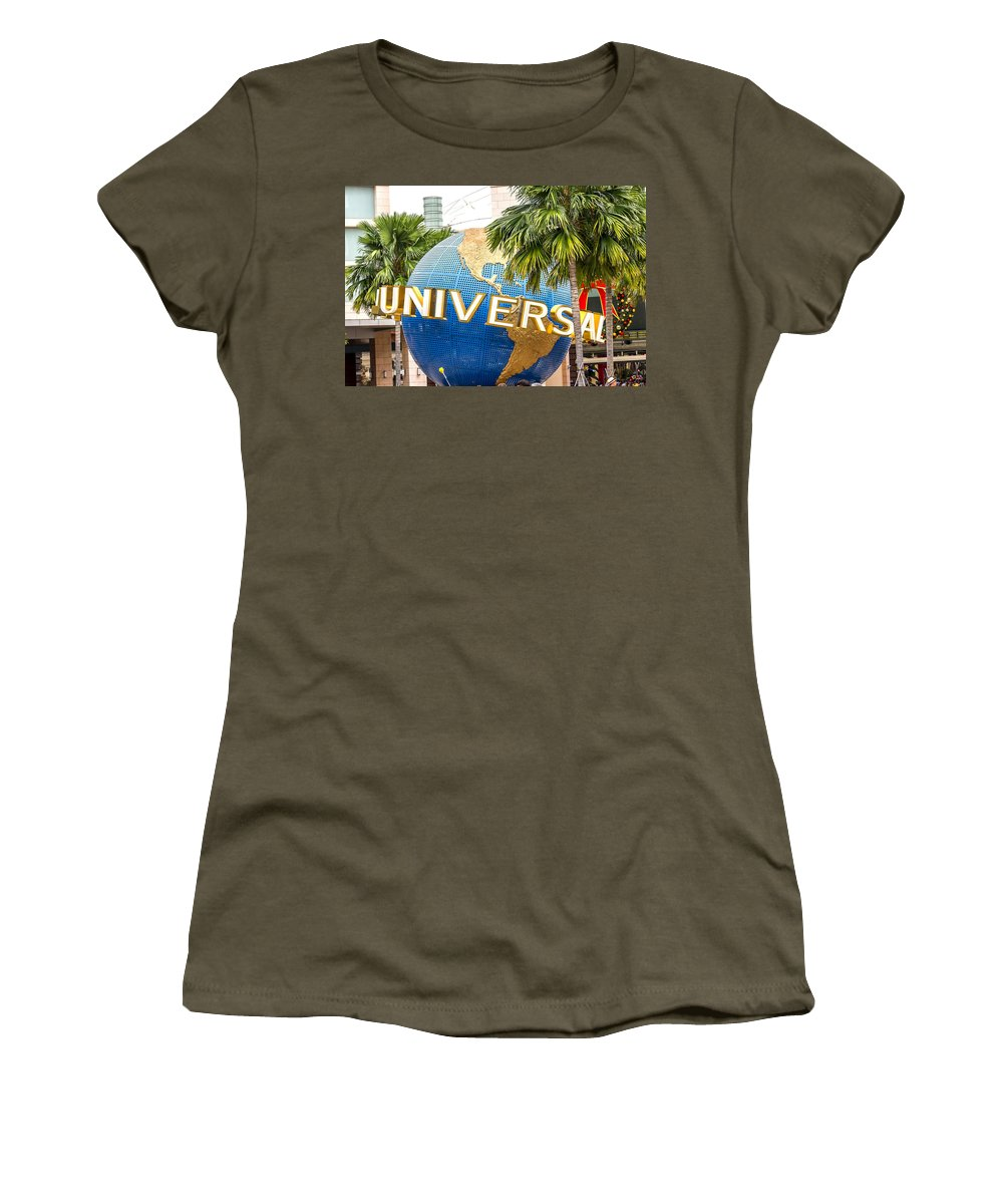 Adult Women's T-Shirt featuring the photograph Universal Studio Globe by Jijo George