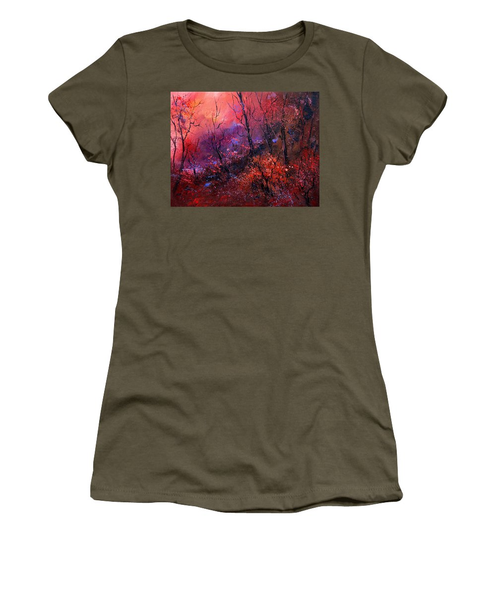 Wood Sunset Tree Women's T-Shirt (Athletic Fit) featuring the painting Unset In The Wood by Pol Ledent