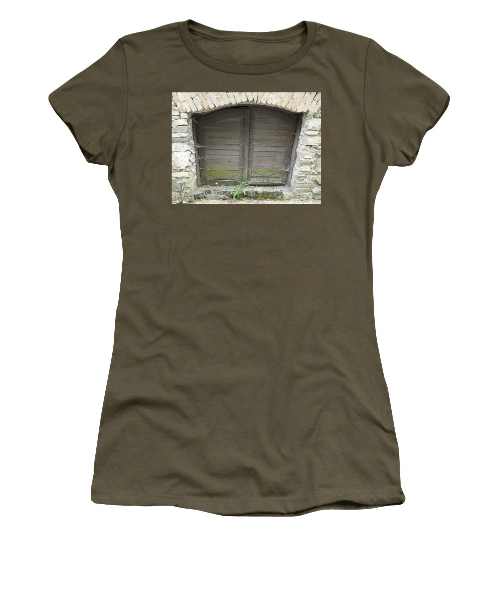 Old Women's T-Shirt (Athletic Fit) featuring the photograph Unused Door by Valerie Ornstein