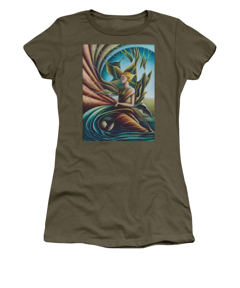 Spiritual Paintings Women's T-Shirt (Athletic Fit) featuring the painting Unveiling by Nad Wolinska