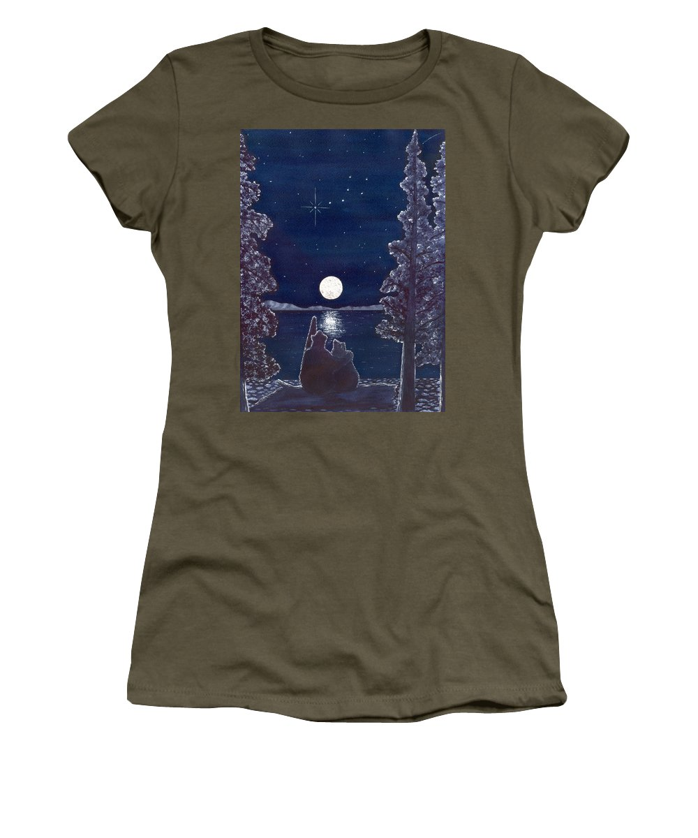 Bear Women's T-Shirt (Athletic Fit) featuring the painting Ursa Minor by Catherine G McElroy