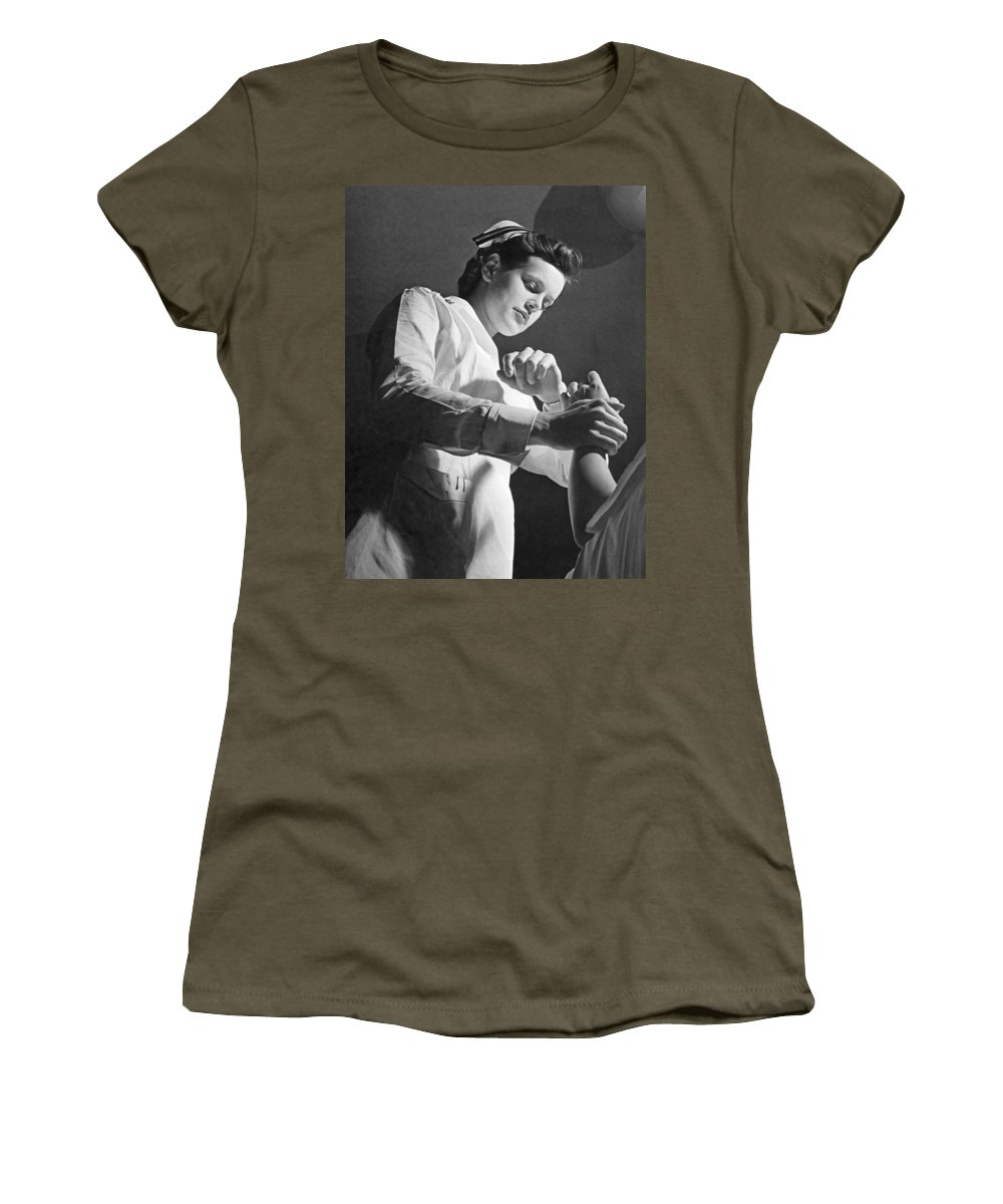 1940s Women's T-Shirt featuring the photograph Us Navy Nurse Taking A Pulse by Underwood Archives