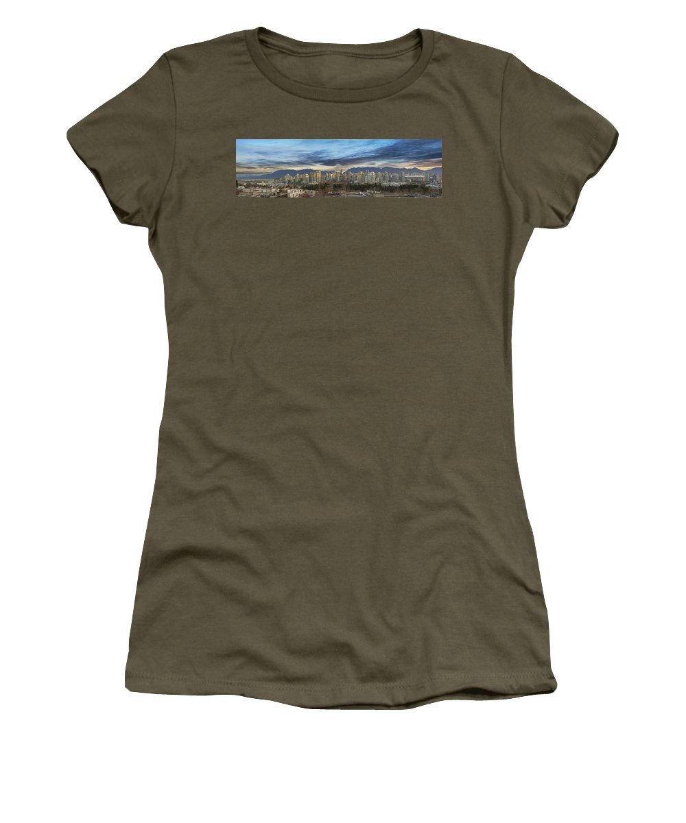 Vancouver Women's T-Shirt (Athletic Fit) featuring the photograph Van City Sunrise by David Gn