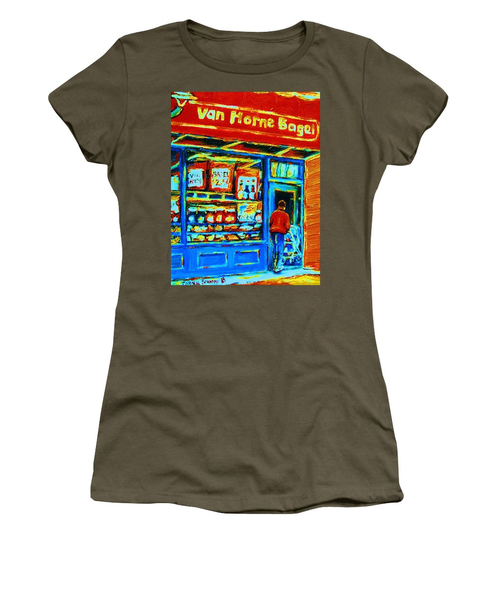 Van Horne Bagel Women's T-Shirt featuring the painting Van Horne Bagel by Carole Spandau