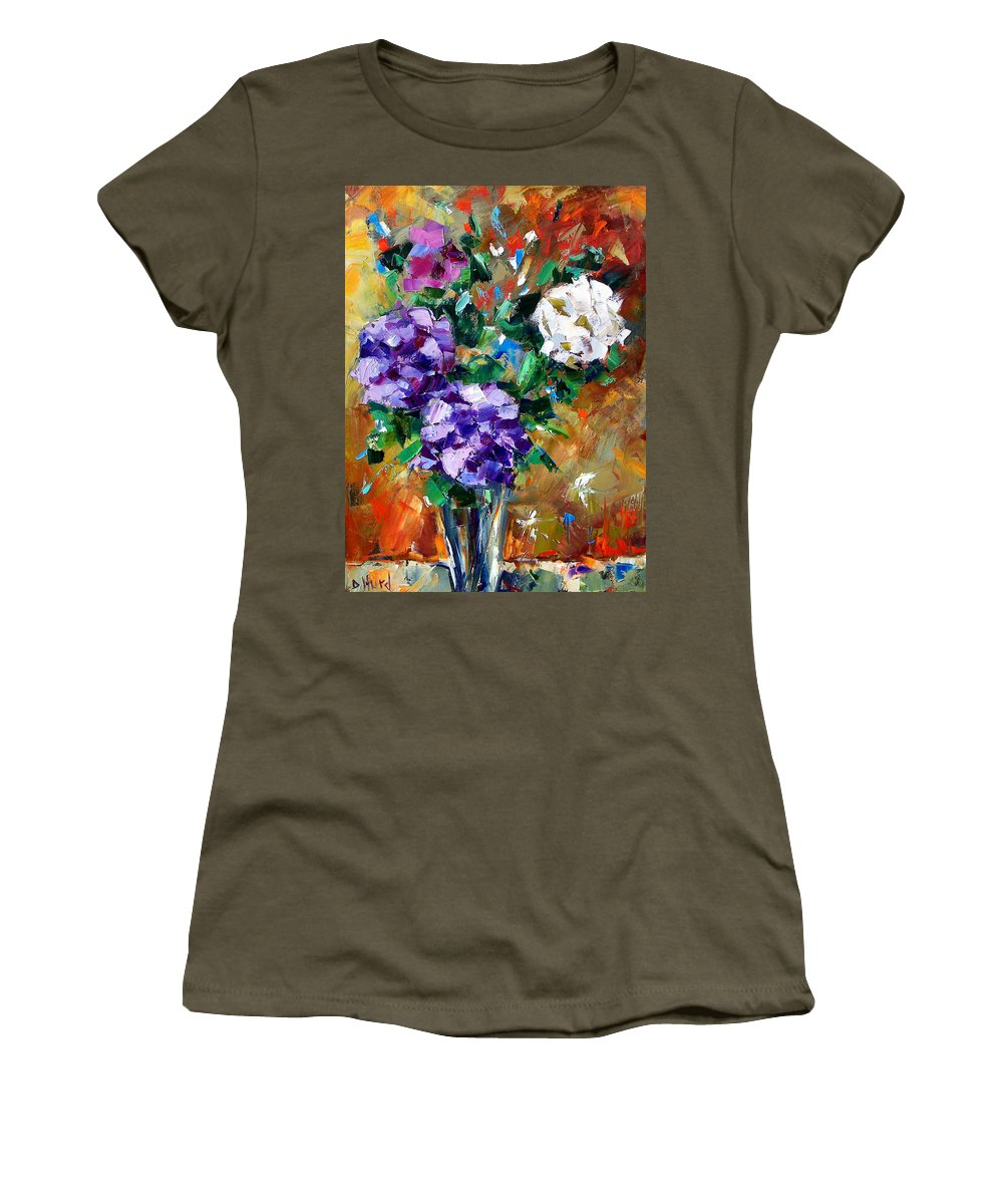 Flowers Women's T-Shirt (Athletic Fit) featuring the painting Vase Of Color by Debra Hurd