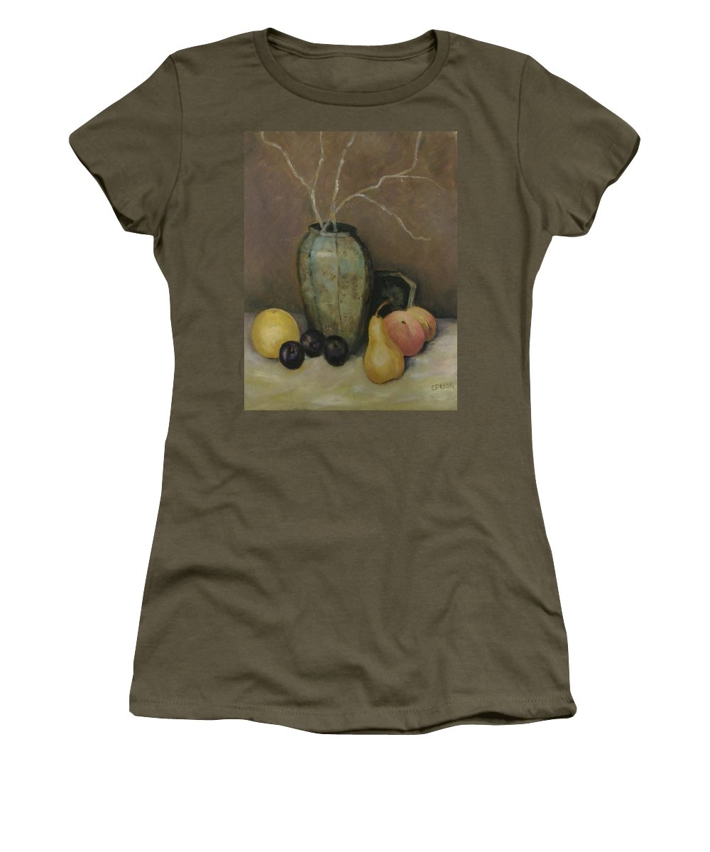 Still Life Women's T-Shirt (Athletic Fit) featuring the painting Vase With Fruit by Pat Snook