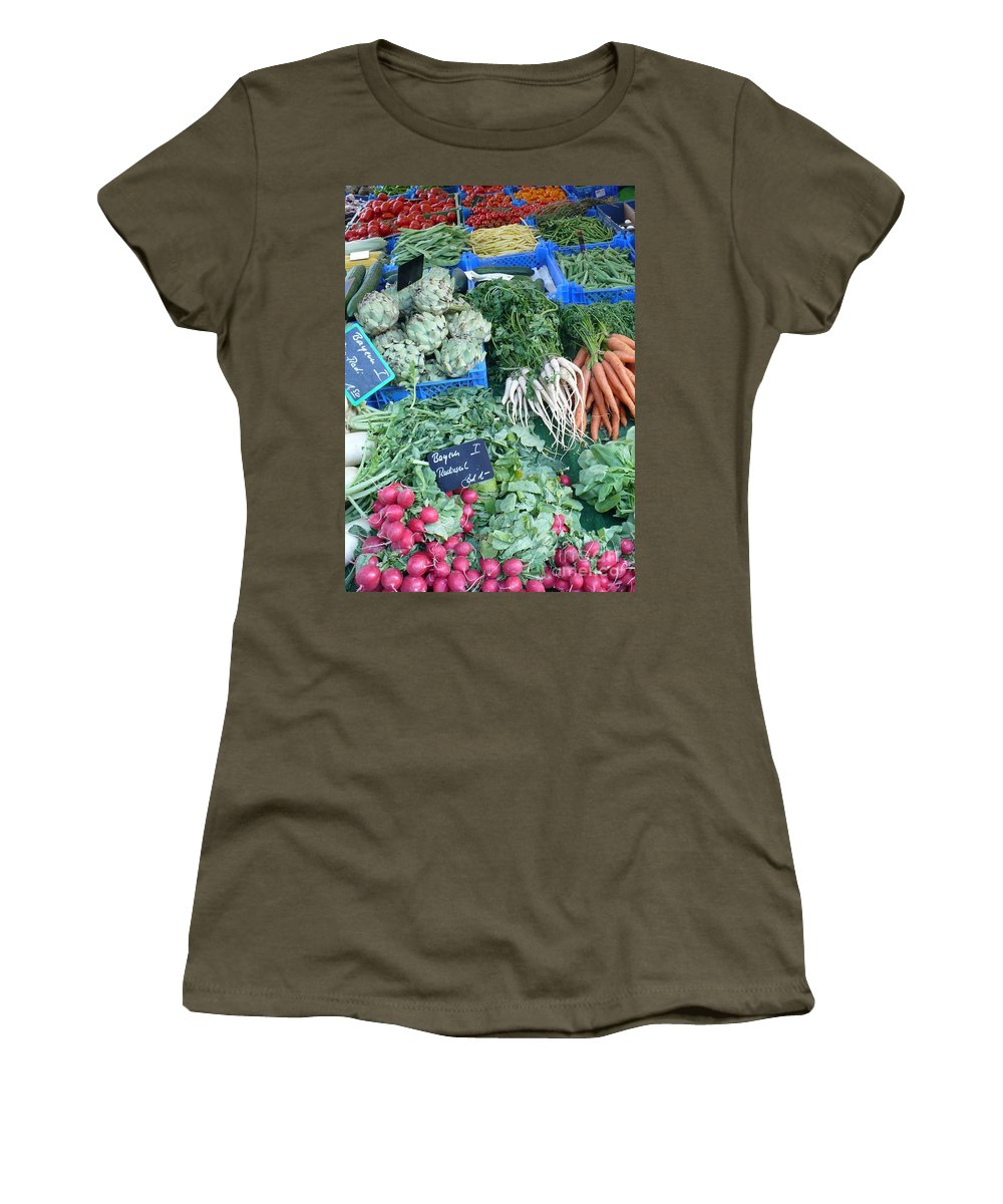 European Markets Women's T-Shirt (Athletic Fit) featuring the photograph Vegetables At German Market by Carol Groenen