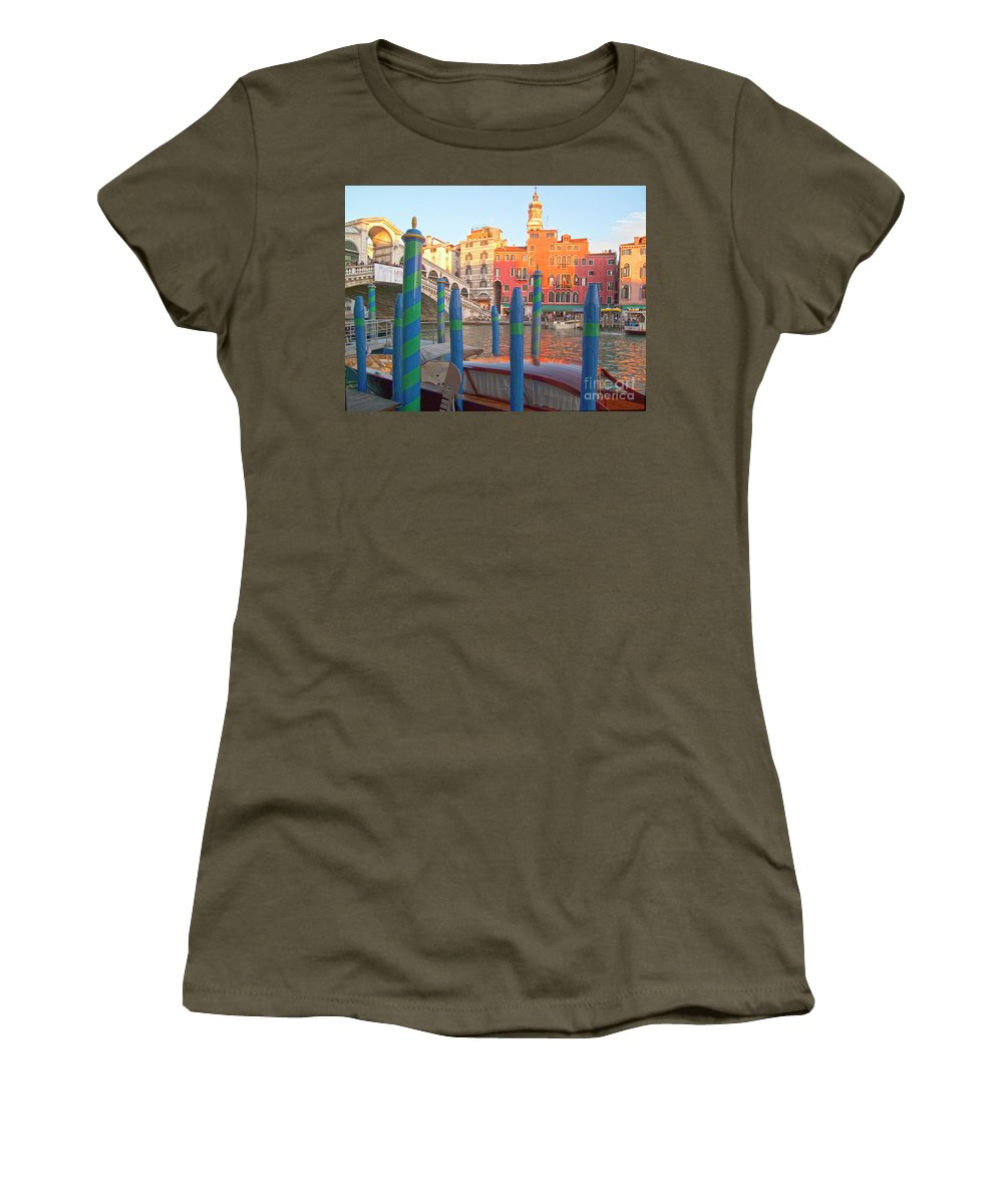 Venice Women's T-Shirt (Athletic Fit) featuring the photograph Venice Rialto Bridge by Heiko Koehrer-Wagner