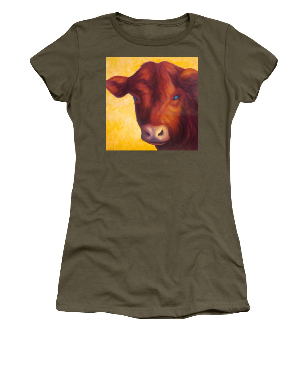 Bull Women's T-Shirt (Athletic Fit) featuring the painting Vern by Shannon Grissom