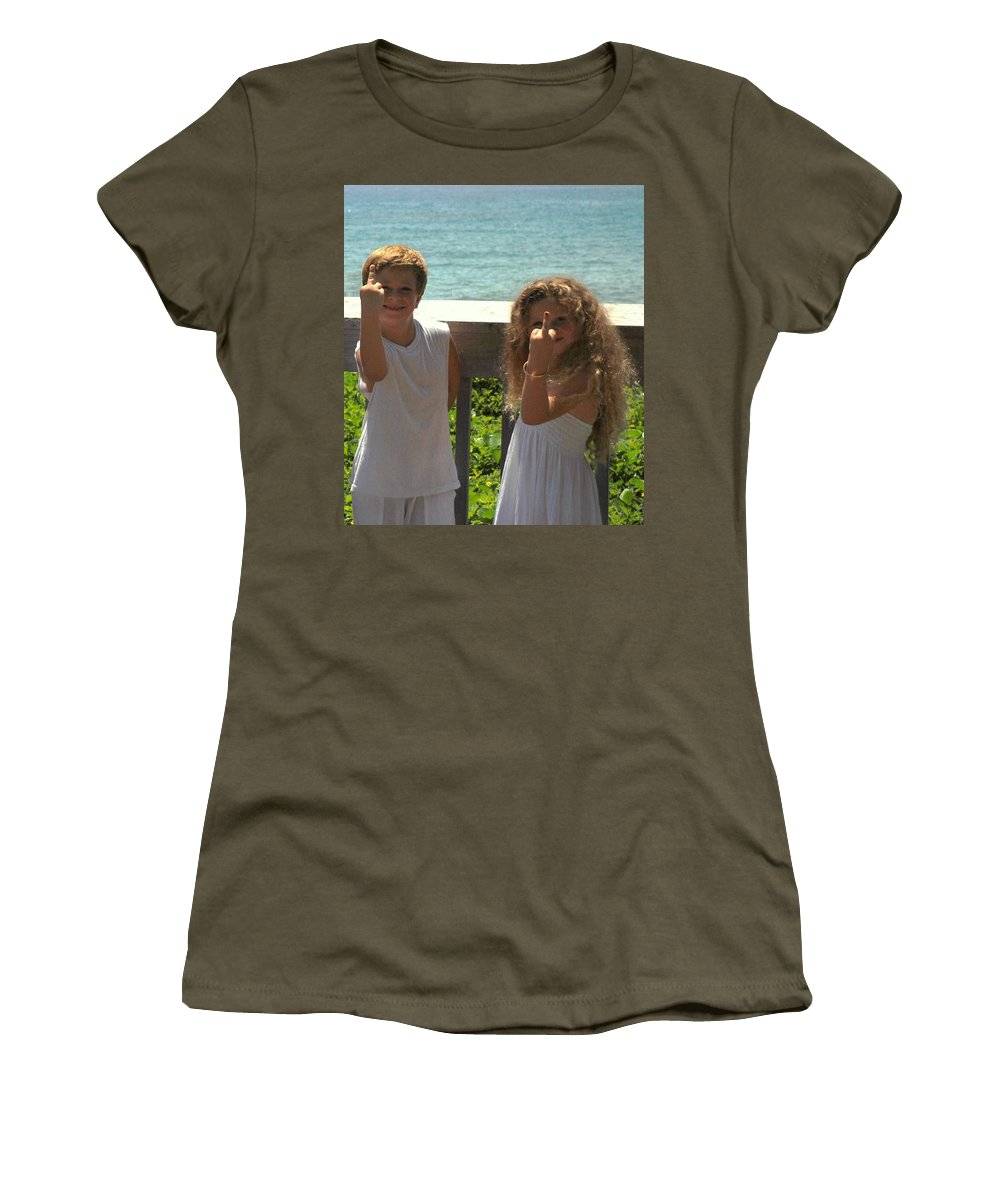 Kids Women's T-Shirt (Athletic Fit) featuring the photograph Very Naughty Angels by Rob Hans