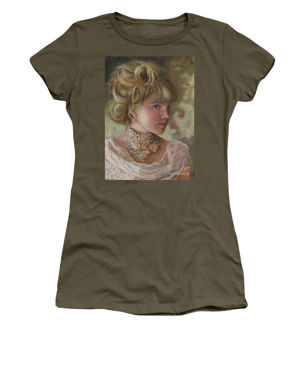 Figurative Art Women's T-Shirt (Athletic Fit) featuring the painting Victorian Beauty by Portraits By NC