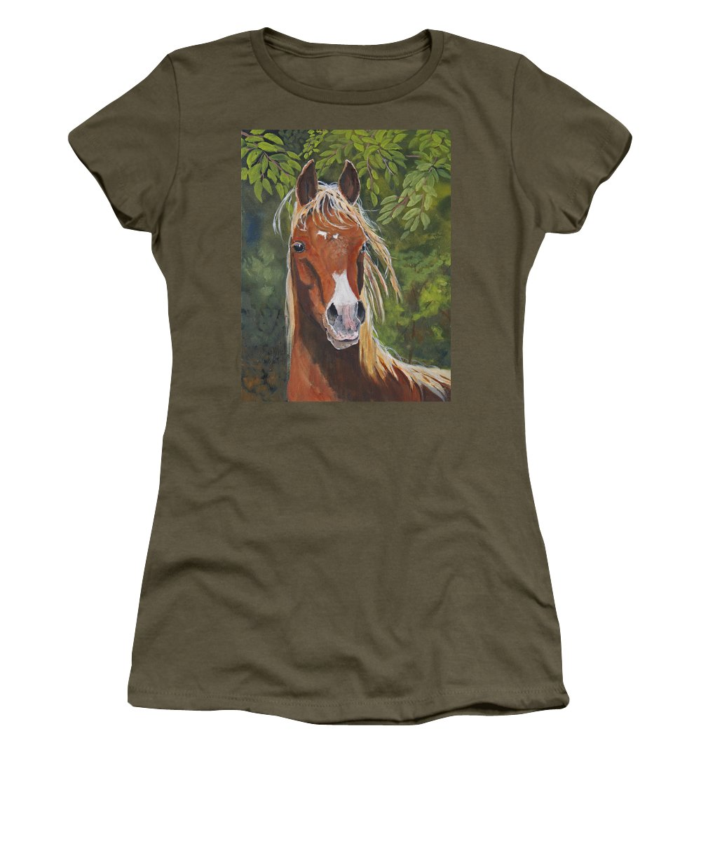 Horse Women's T-Shirt (Athletic Fit) featuring the painting Victory by Heather Coen