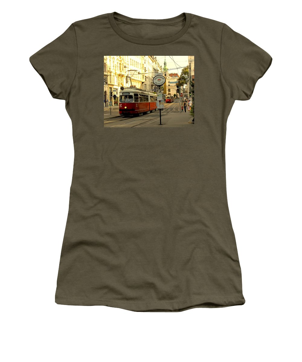Streetcar Women's T-Shirt (Athletic Fit) featuring the photograph Vienna Streetcar by Ian MacDonald