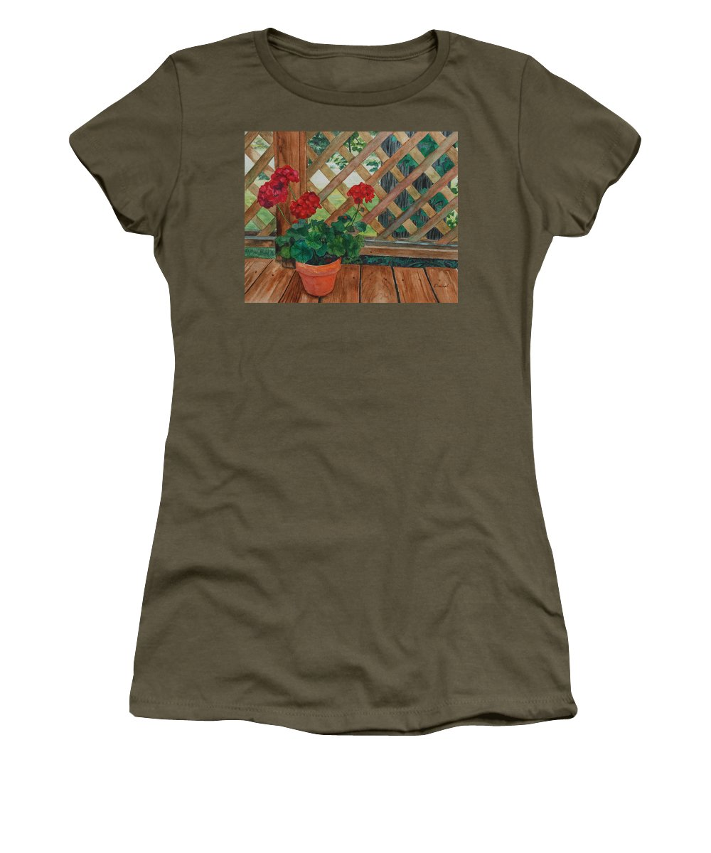 Watercolor Women's T-Shirt featuring the painting View From A Deck by Lynne Reichhart
