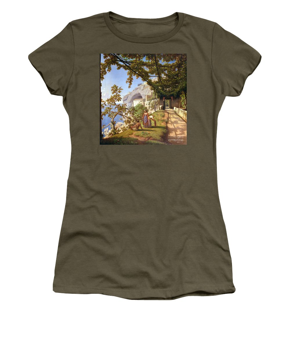 Leaves Women's T-Shirt featuring the painting View Of Capri by Theodore Aligny