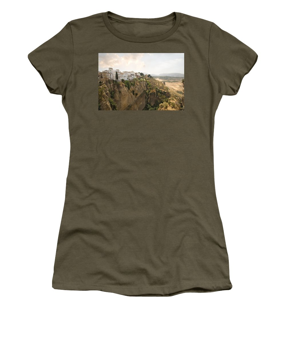 Ronda Women's T-Shirt (Athletic Fit) featuring the photograph View Over The Tajo Gorge Ronda Home Of Bullfighting by Mal Bray