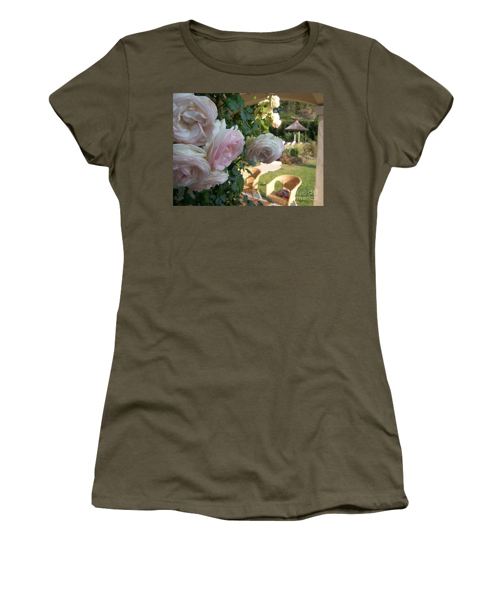 Roses Women's T-Shirt (Athletic Fit) featuring the photograph Villa Roses by Nadine Rippelmeyer