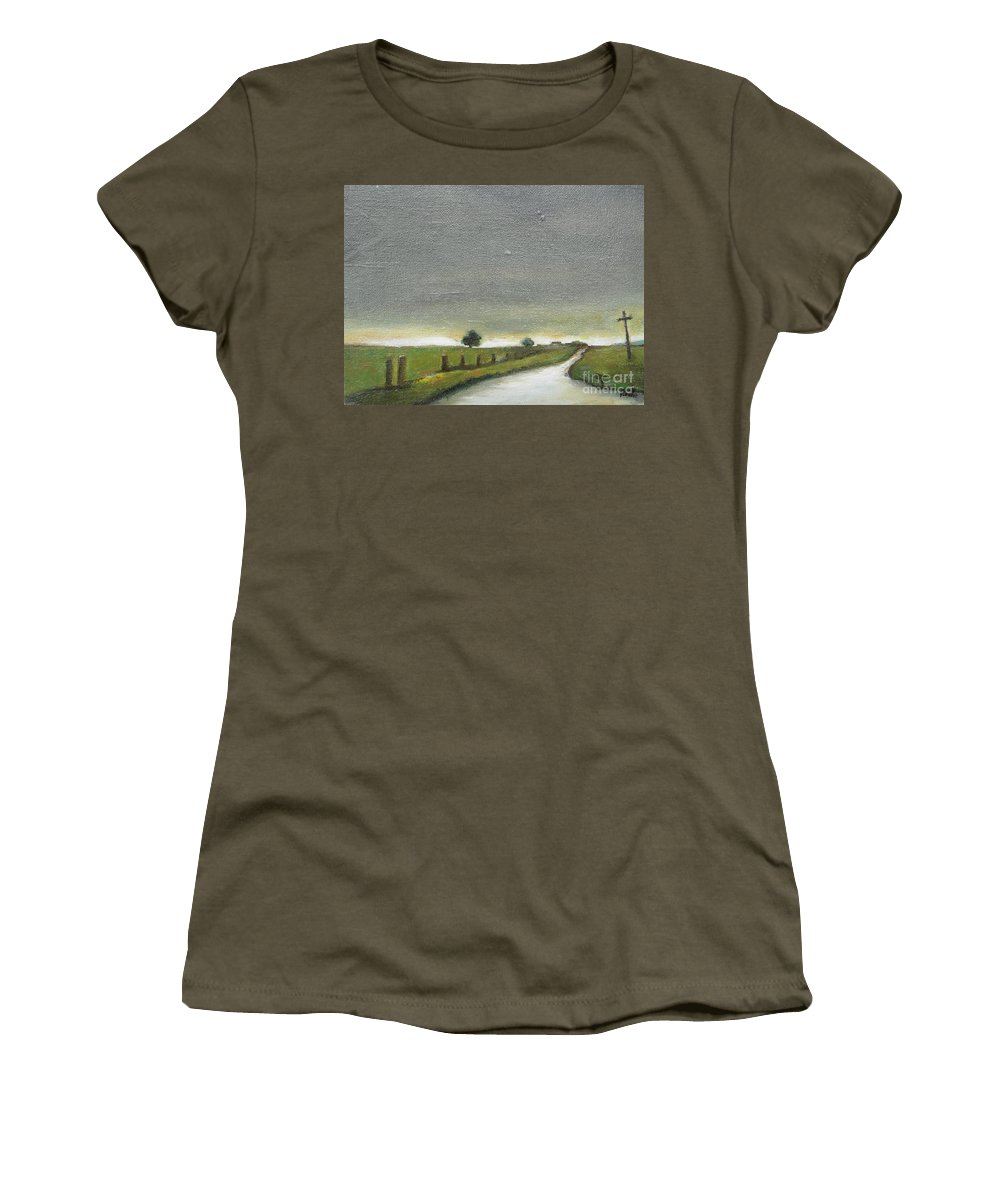 Landscape Women's T-Shirt featuring the painting Village Road In The Twilight by Vesna Antic