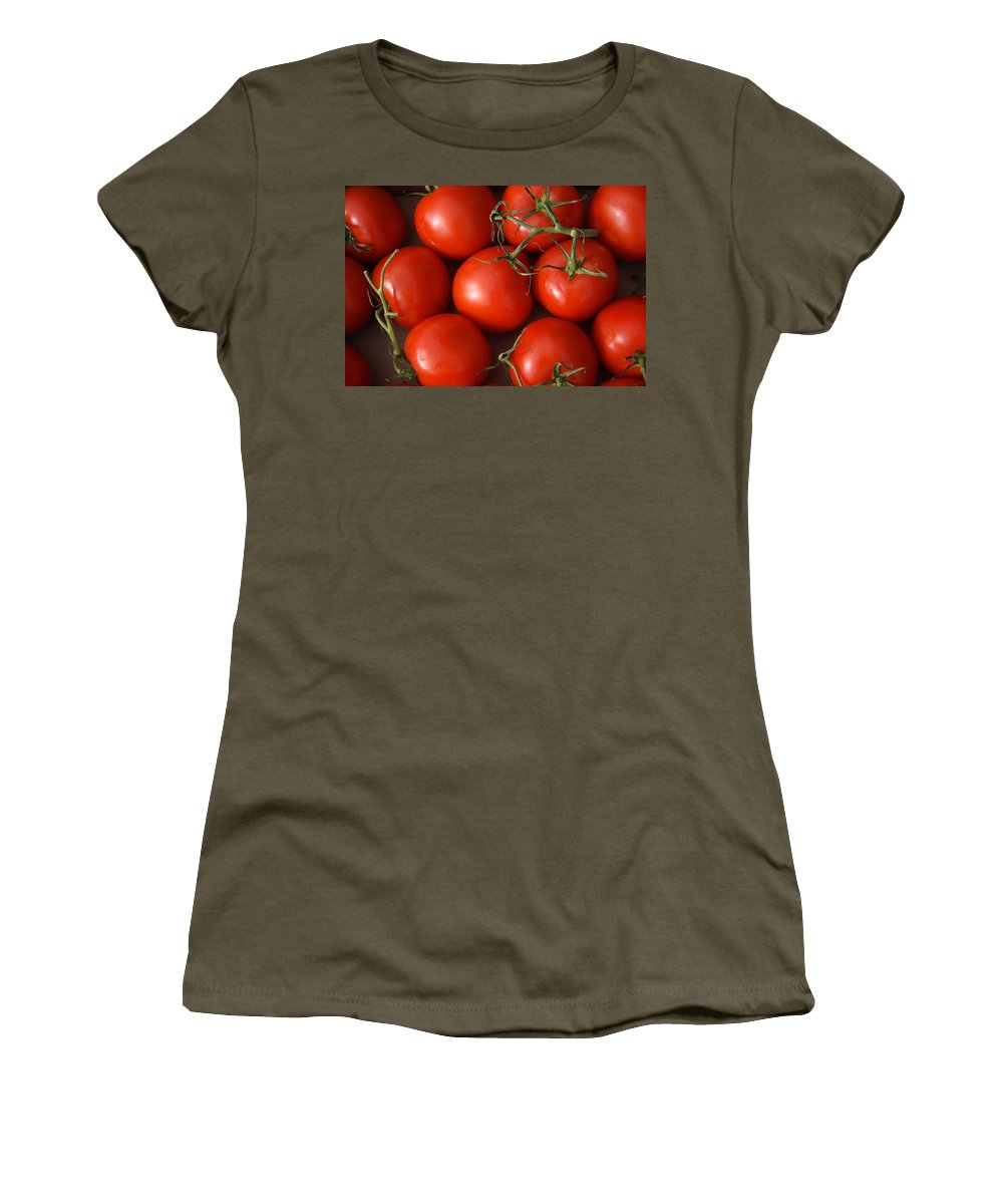 Tomatoes Women's T-Shirt featuring the photograph Vine Ripe Tomatoes Fine Art Food Photography by James BO Insogna