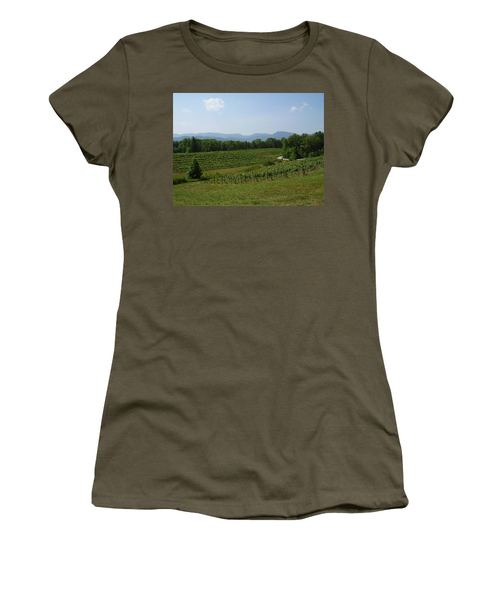 Vineyard Women's T-Shirt (Athletic Fit) featuring the photograph Vineyard by Flavia Westerwelle