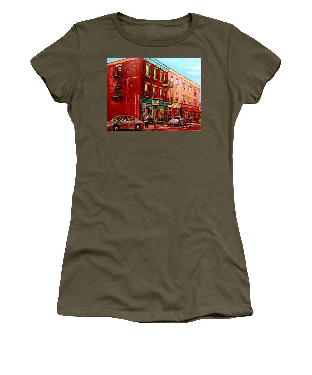 St Viateur Bagel Shop Montreal Street Scenes Women's T-Shirt featuring the painting Vintage Montreal by Carole Spandau