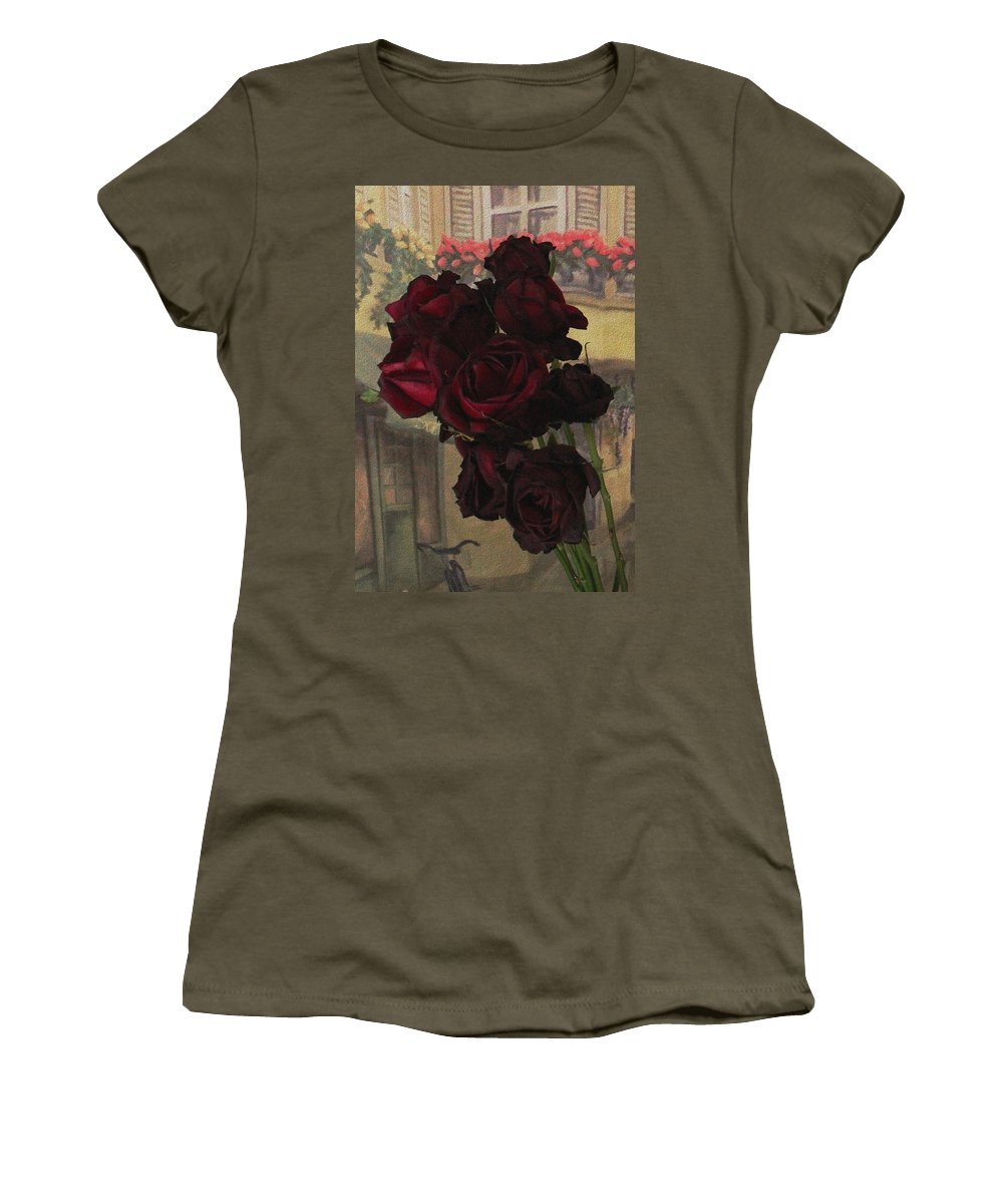 Vintage Roses Women's T-Shirt (Athletic Fit) featuring the photograph Vintage Roses In Vintage Paris by Natalie Ortiz