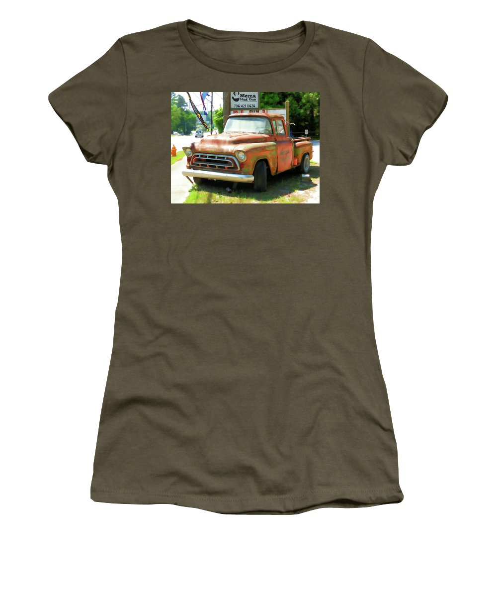 Vintage Tow Truck Women's T-Shirt featuring the painting Vintage Tow Truck by Jeelan Clark