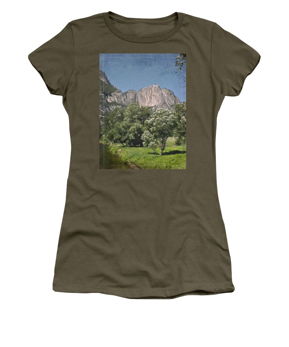 Landscape Women's T-Shirt (Athletic Fit) featuring the painting Vintage Yosemite by Teresa Mucha
