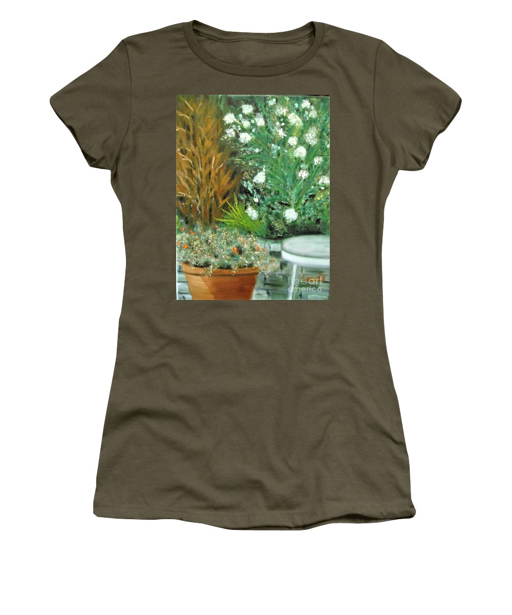 Plein Air Women's T-Shirt (Athletic Fit) featuring the painting Virginia's Garden by Laurie Morgan