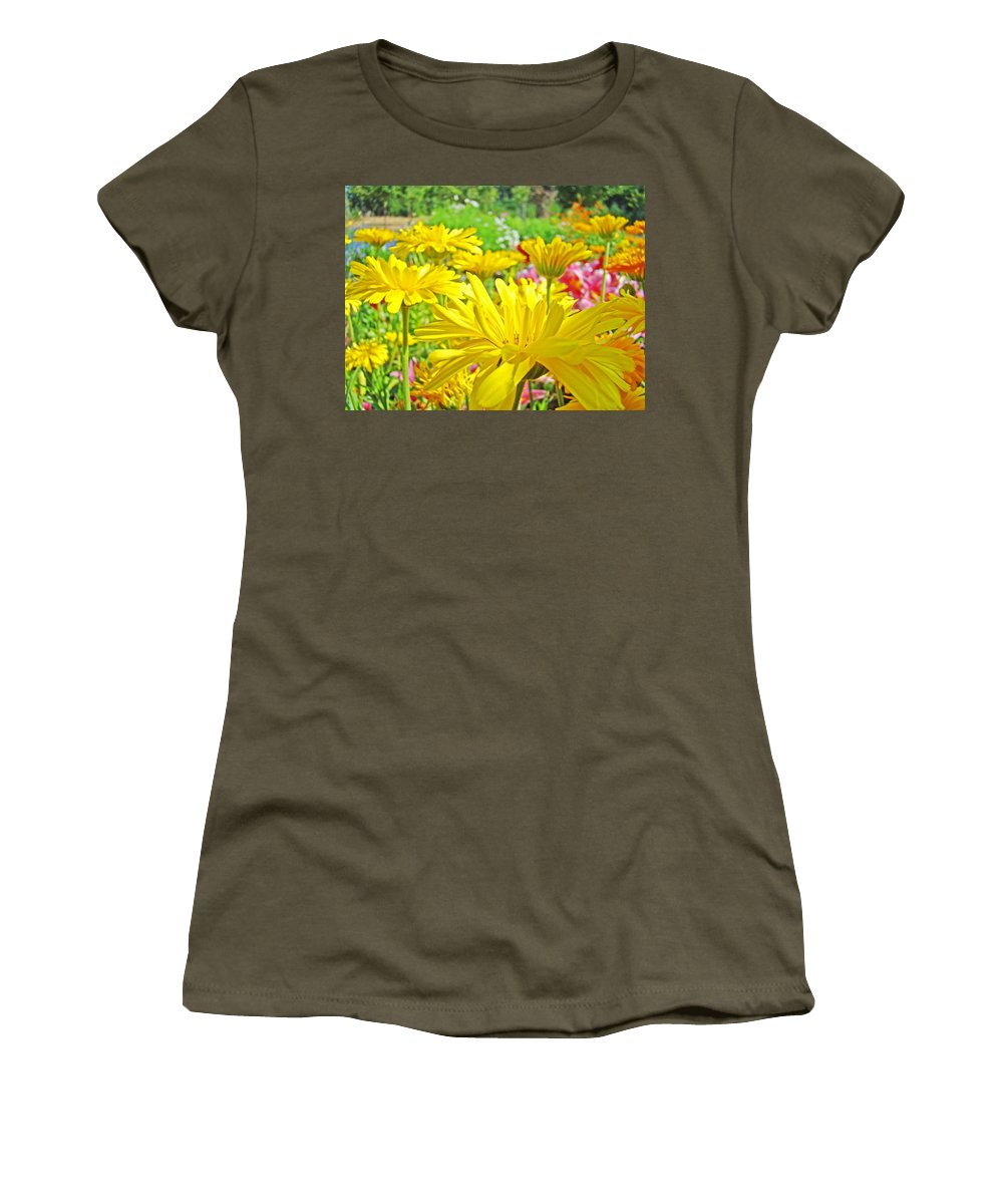 Daisy Women's T-Shirt (Athletic Fit) featuring the photograph Vivid Colorful Yellow Daisy Flowers Daisies Baslee Troutman by Baslee Troutman