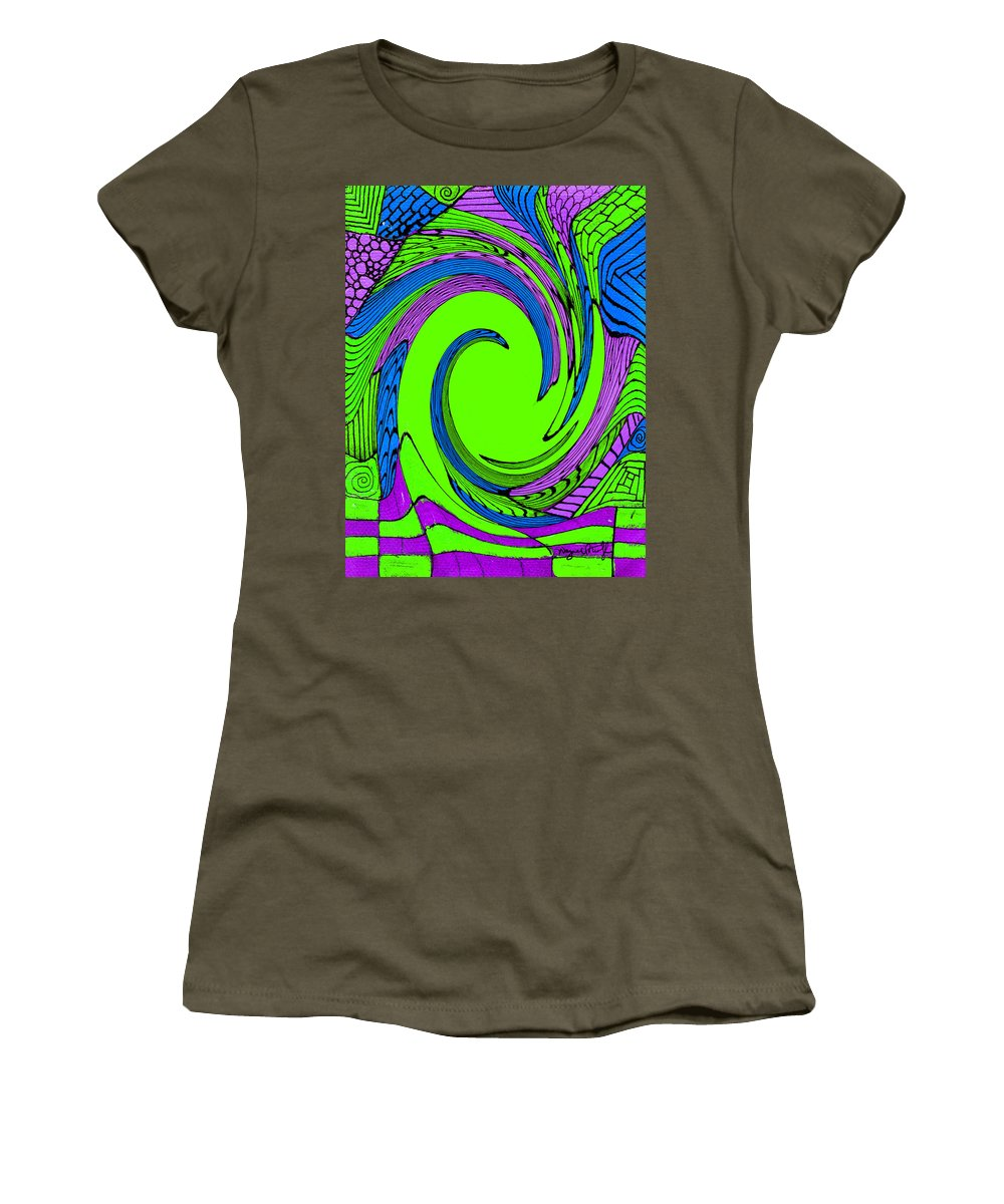 Vortex Women's T-Shirt (Athletic Fit) featuring the painting Vortex by Wayne Potrafka