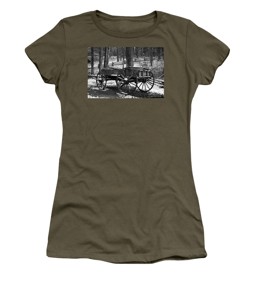Black & White Women's T-Shirt featuring the photograph Wagon by Eric Liller