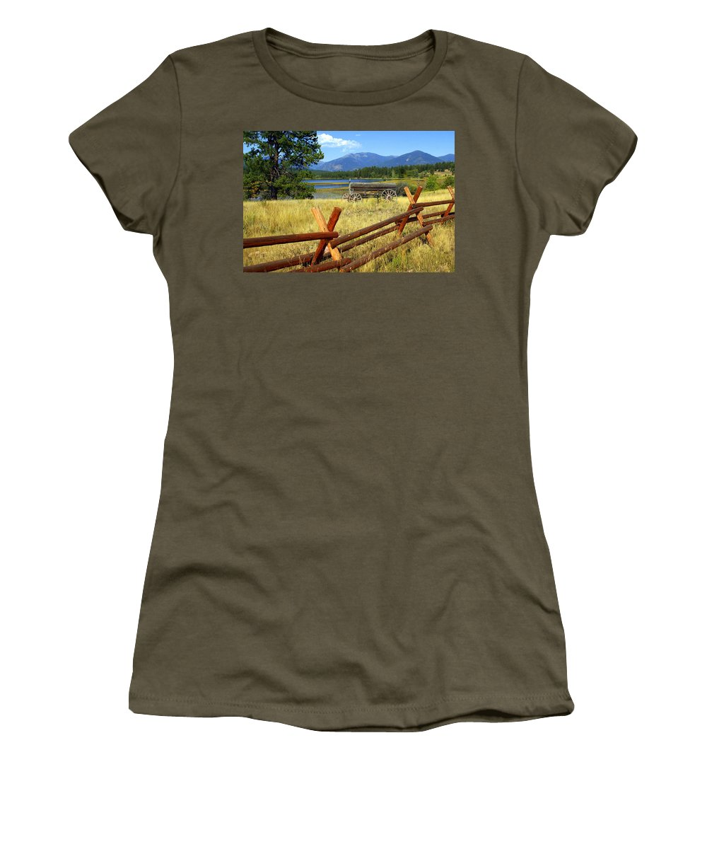 Landscape Women's T-Shirt featuring the photograph Wagon West by Marty Koch
