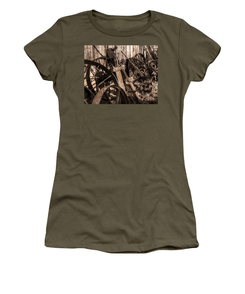 Wagon Wheels Women's T-Shirt featuring the photograph Wagons Whoa Bw by Darin Williams