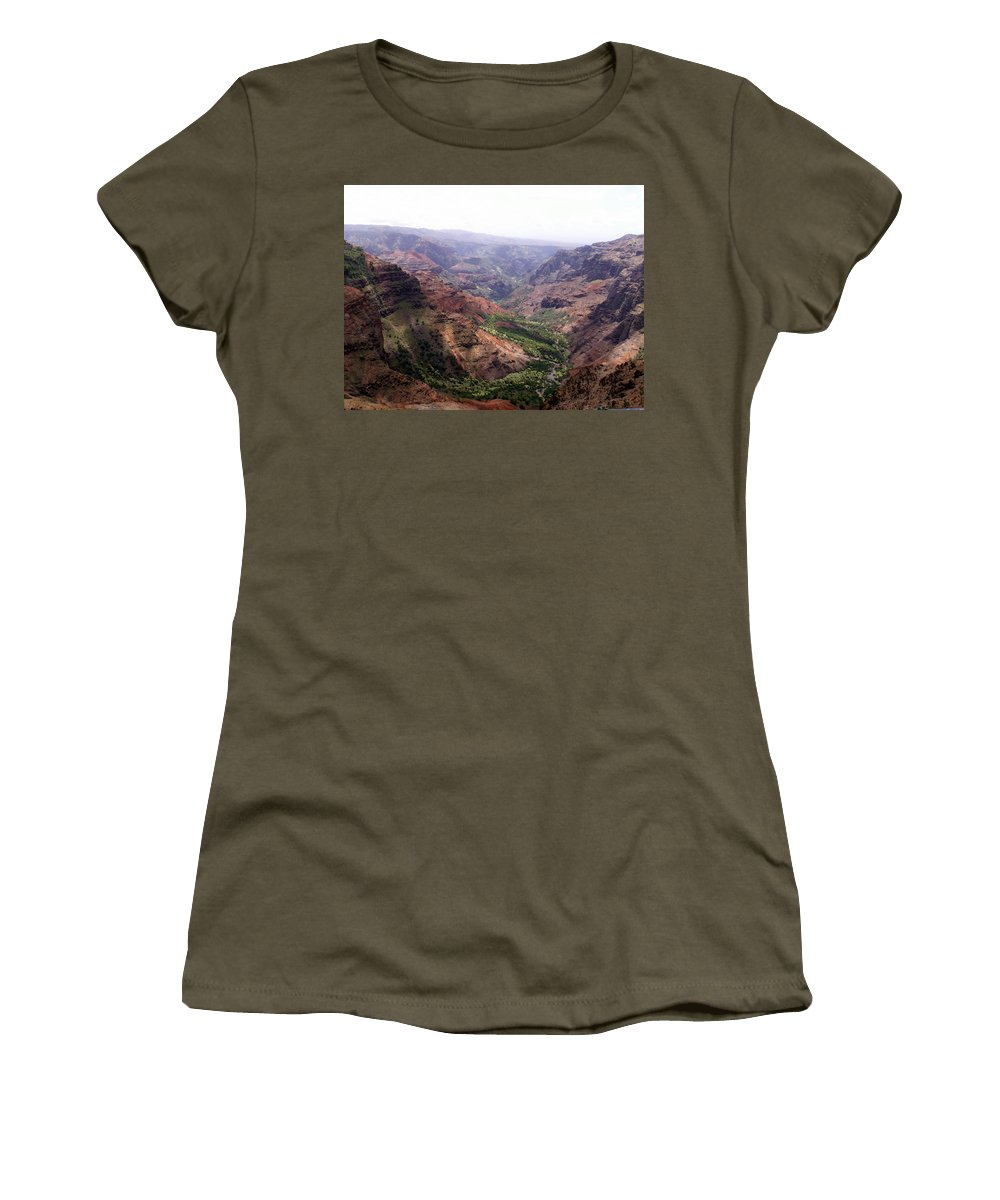 Waimea Women's T-Shirt (Athletic Fit) featuring the photograph Waimea Canyon 2 by Amy Fose