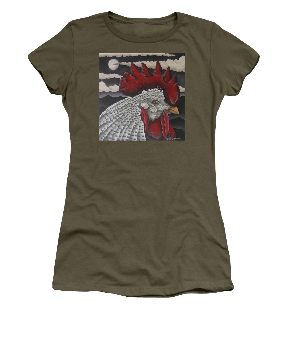 Rooster Women's T-Shirt featuring the painting Waiting For Daybreak by Jeniffer Stapher-Thomas