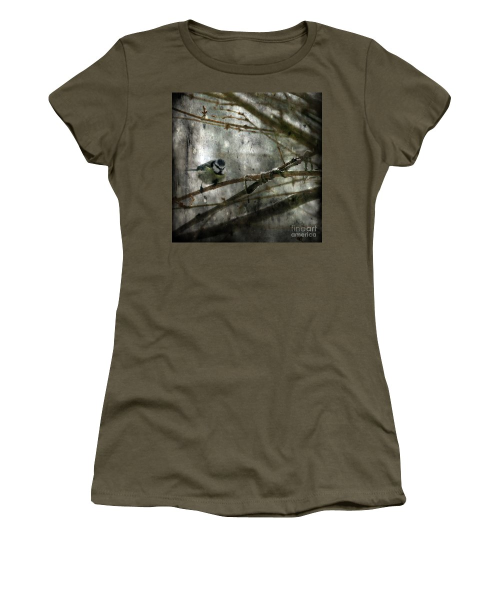 Blue Tit Women's T-Shirt (Athletic Fit) featuring the photograph Waiting For Springtime by Angel Tarantella