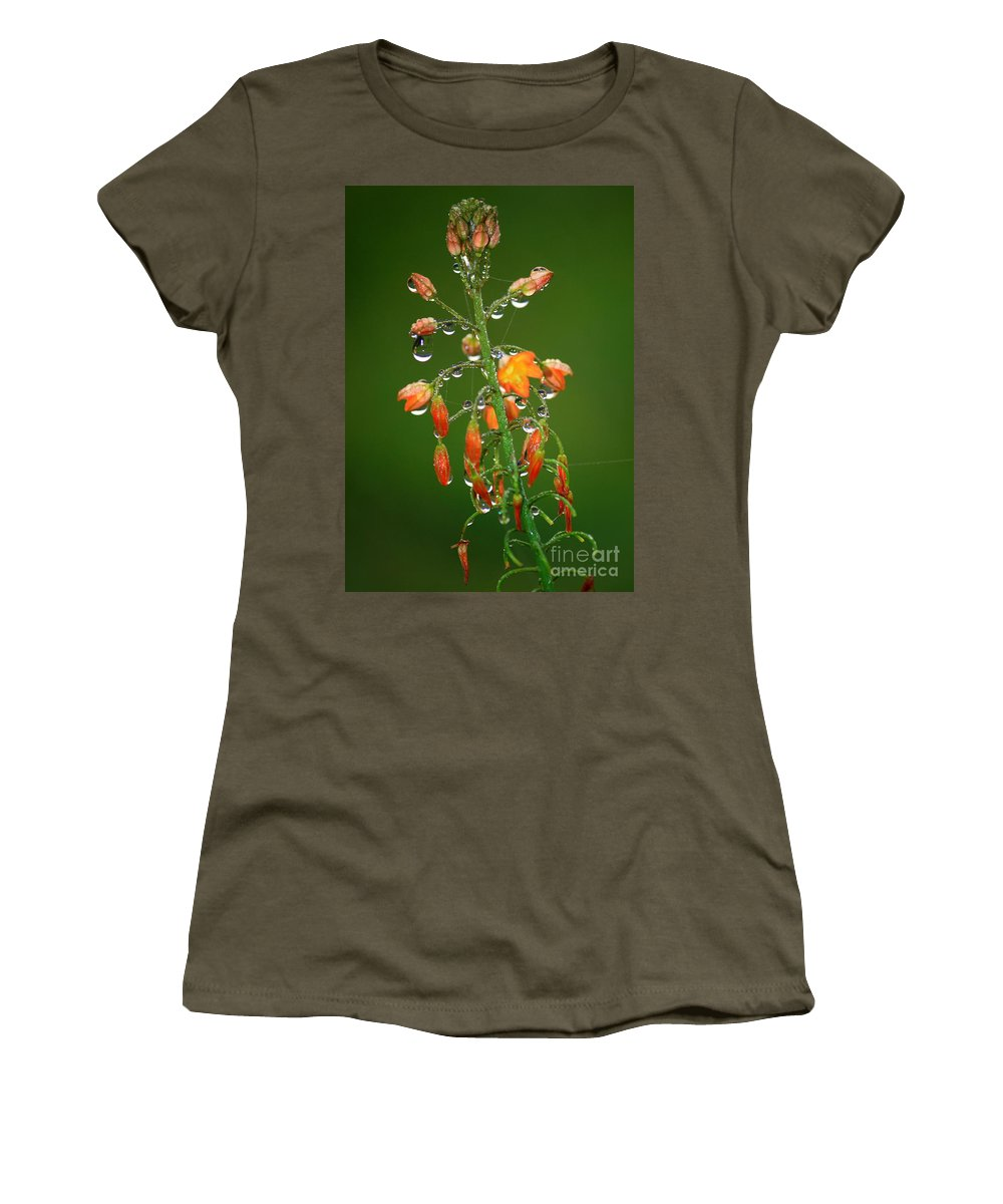 Green And Orange Women's T-Shirt (Athletic Fit) featuring the photograph Waiting For Sunshine by Carol Groenen