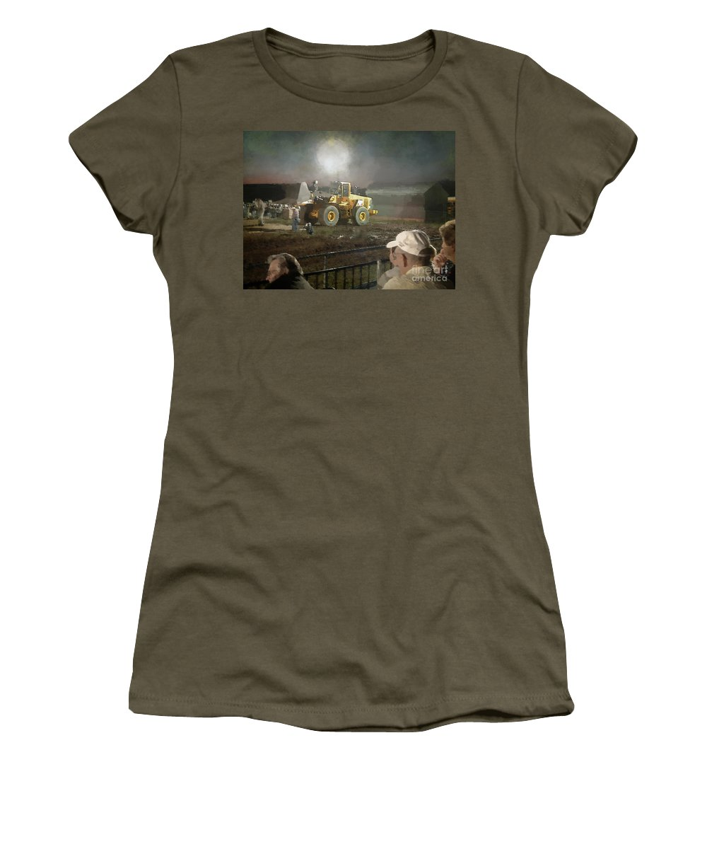 Americana Women's T-Shirt (Athletic Fit) featuring the painting Waiting For The Pull by RC DeWinter