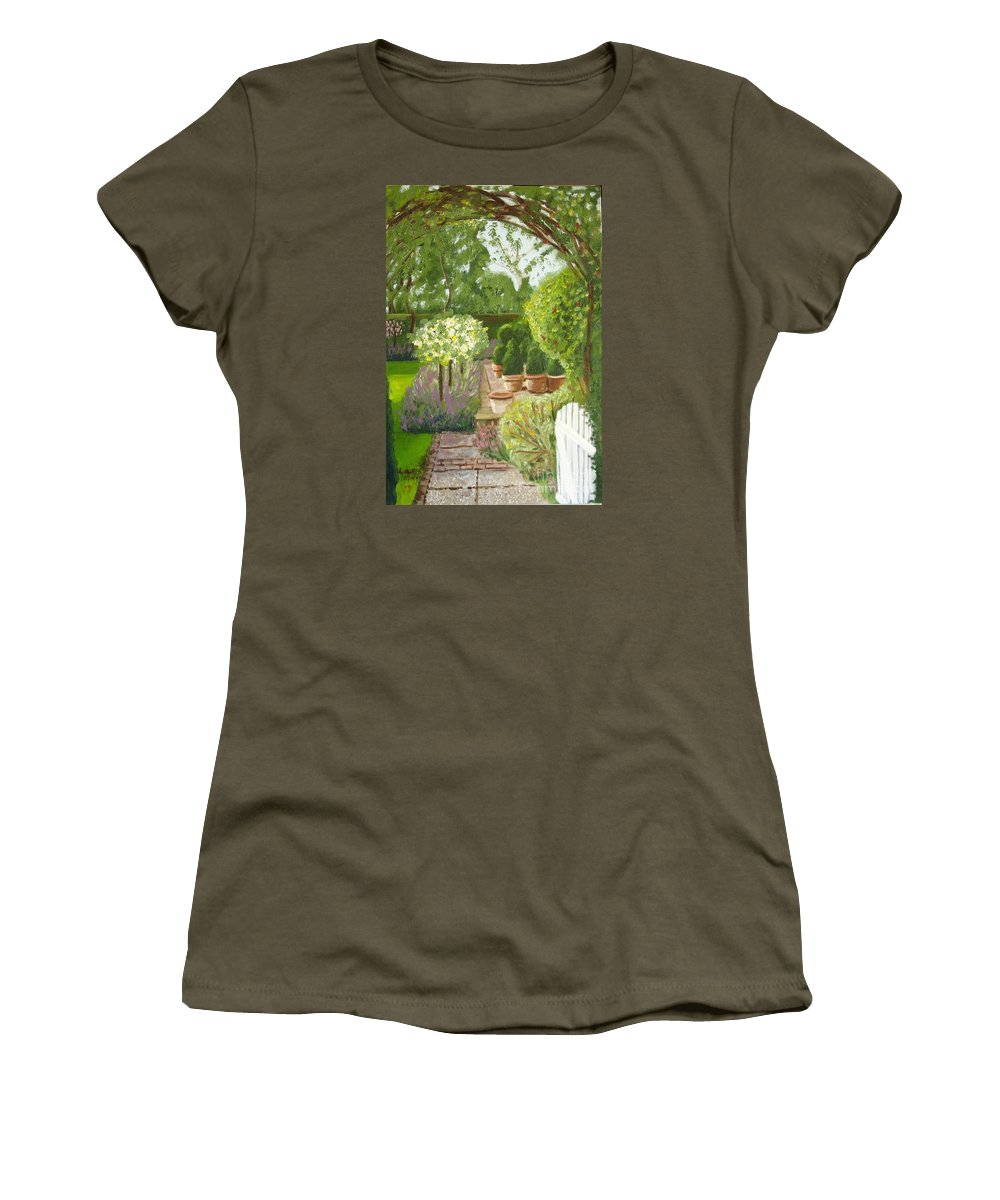 Garden Women's T-Shirt (Athletic Fit) featuring the painting Walk With Me by Laurie Morgan