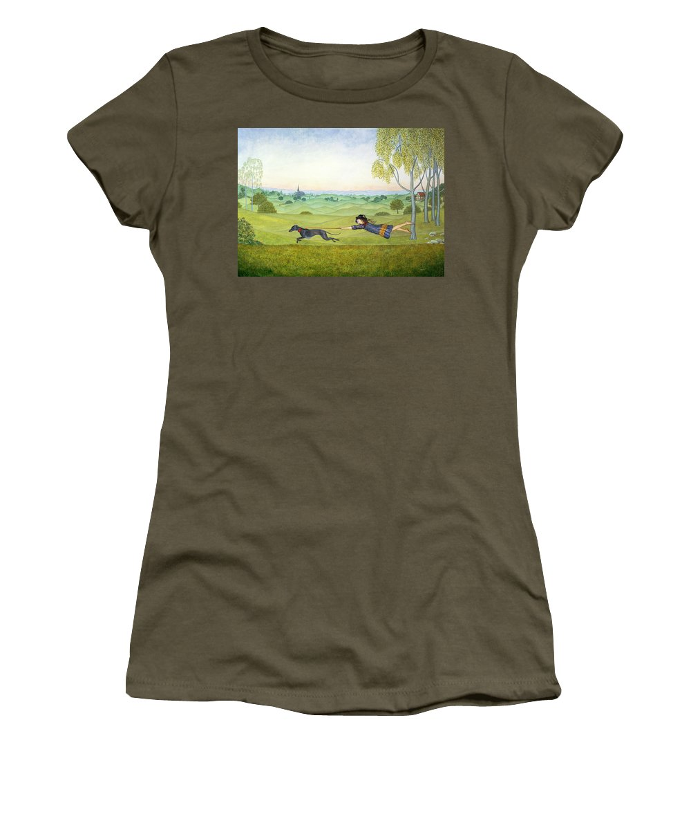 Child Women's T-Shirt featuring the painting Walking The Dog by Ditz